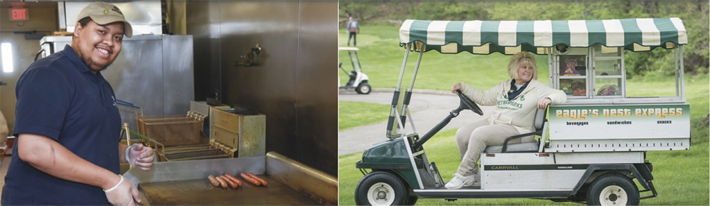 Park employee preparing food and an image of an employee driving a golf concession cart