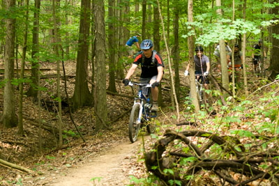 RACE AGAINST THE CLOCK AT THE MOUNTAIN BIKE TIME TRIALS ON ROYALVIEW TRAIL IN CLEVELAND METROPARKS