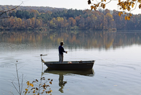 Person fishing on Hinckley lake