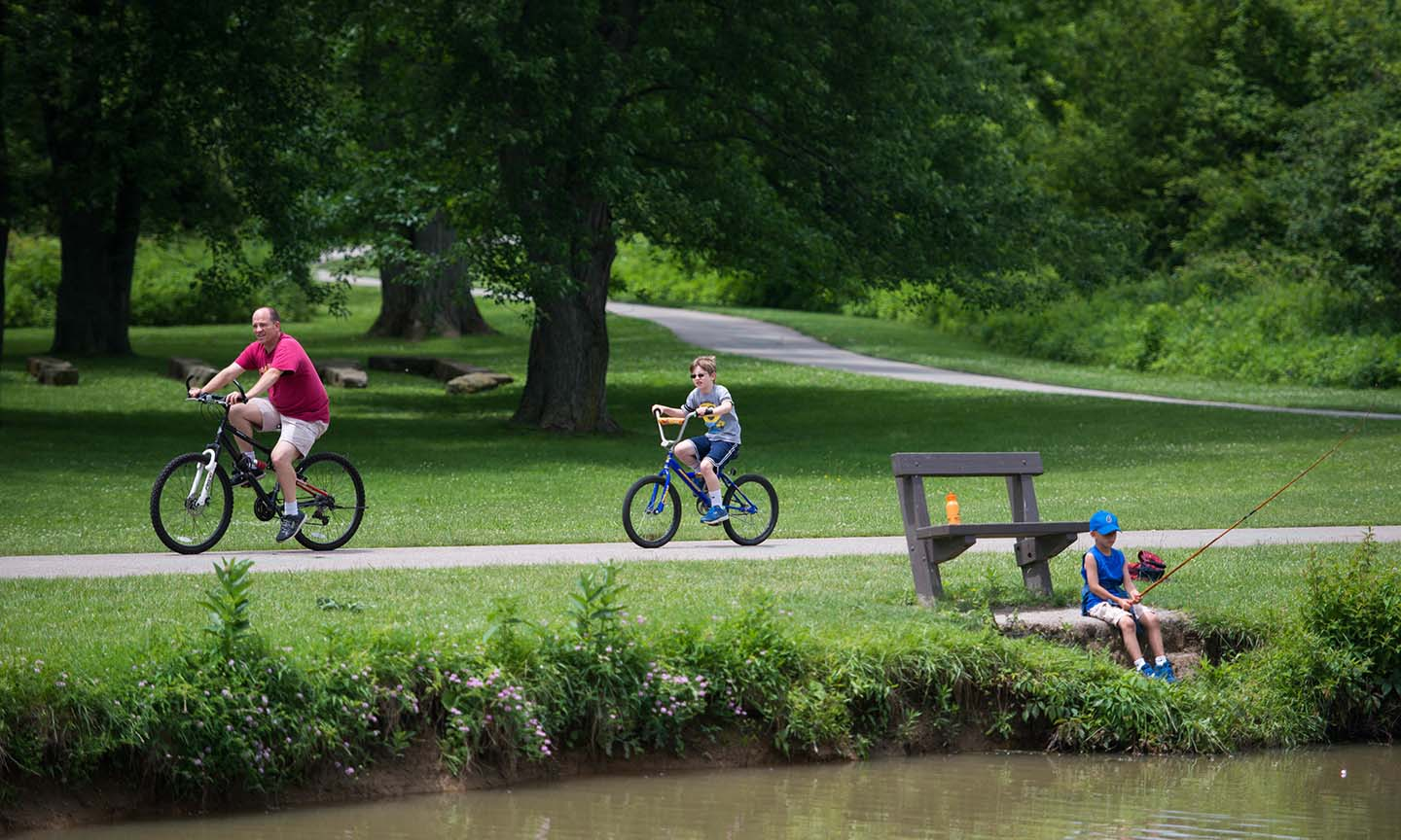 Bikers and Boy Fishing at the Ohio and Erie Canal