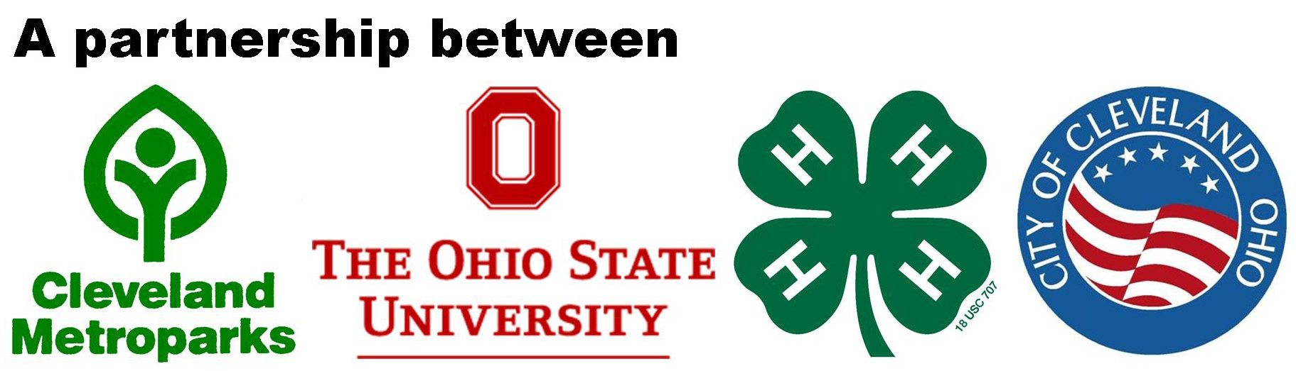 Youth Outdoors partner logos, Cleveland Metroparks, Ohio State University, 4H, City of Cleveland