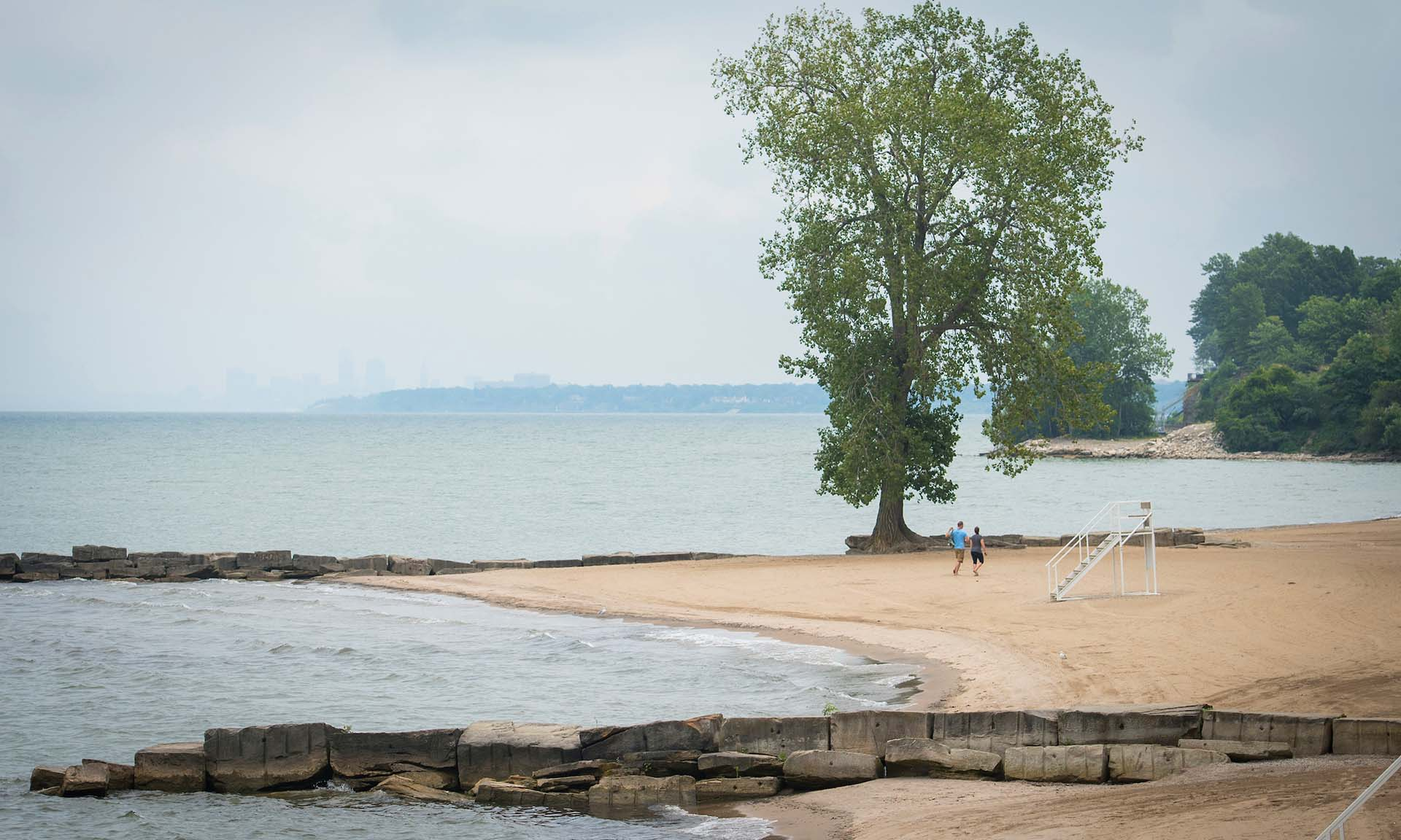 View of Huntington Reservation Sandy Beach on Lake Erie
